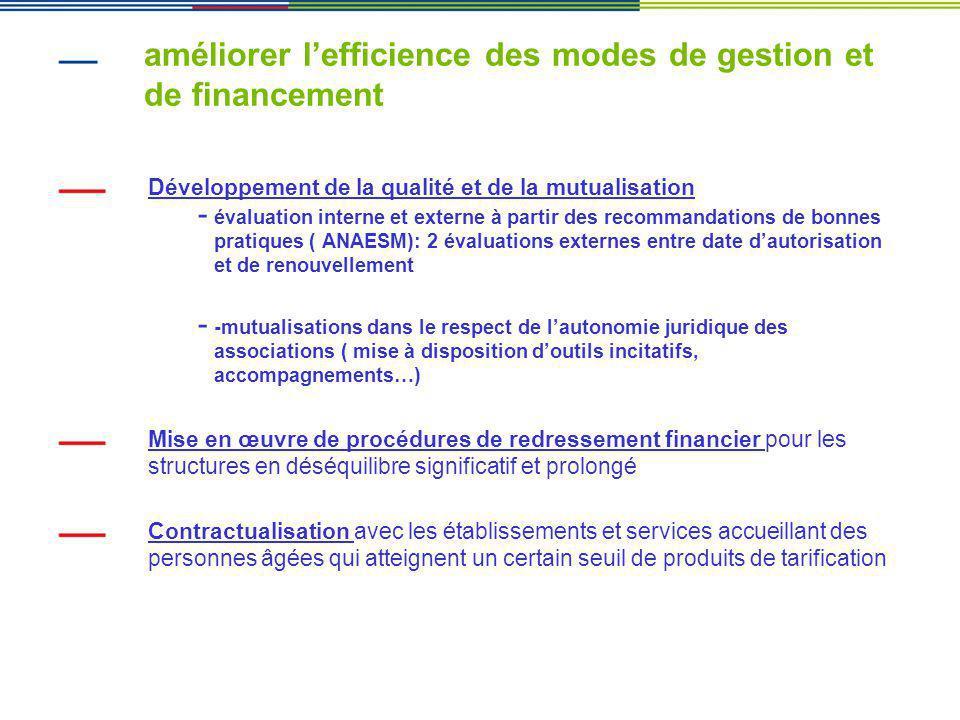 améliorer lefficience des modes de gestion et de financement Développement de la qualité et de la mutualisation - évaluation interne et externe à part