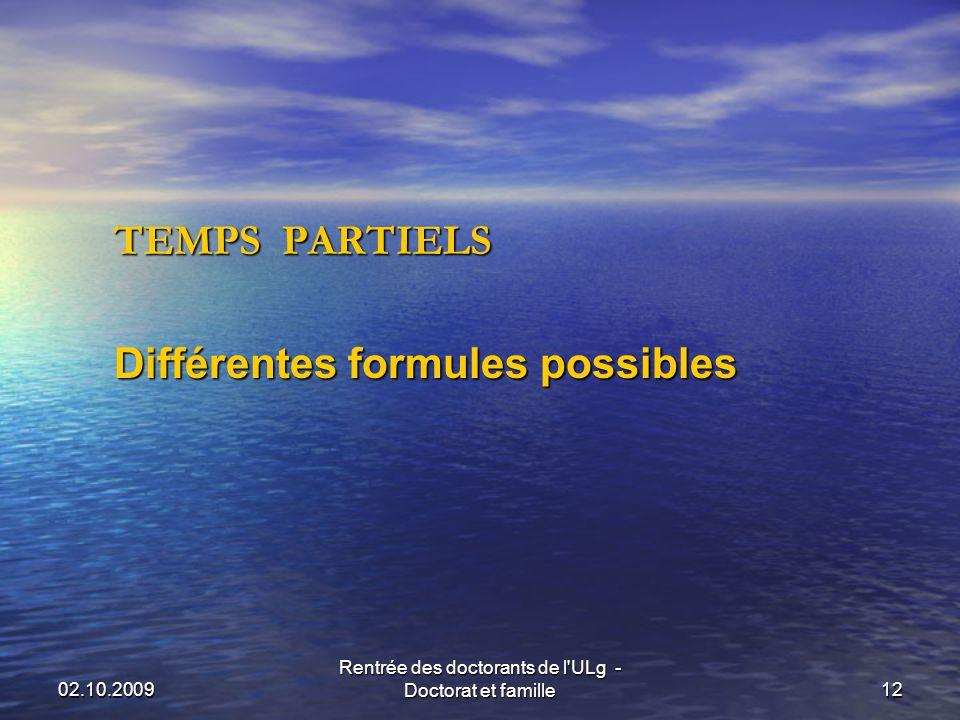 02.10.2009 Rentrée des doctorants de l ULg - Doctorat et famille12 TEMPS PARTIELS Différentes formules possibles