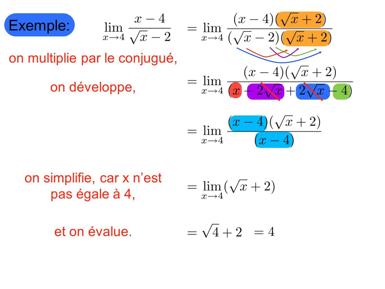 Exemple: on multiplie par le conjugué, on développe, on simplifie, car x nest pas égale à 4, et on évalue.