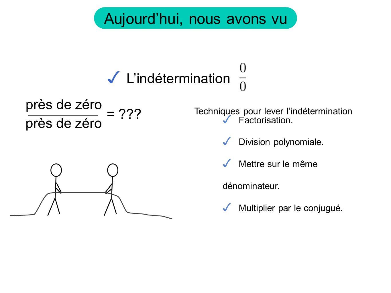 Aujourdhui, nous avons vu Lindétermination = ??? près de zéro Factorisation. Division polynomiale. Mettre sur le même dénominateur. Multiplier par le