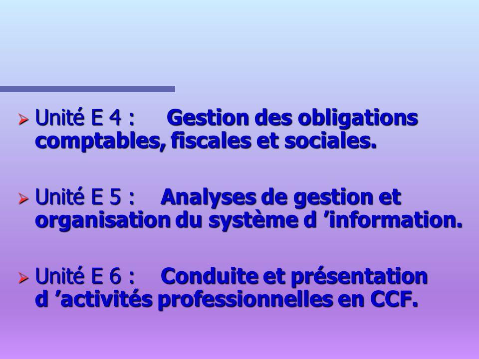 Unité E 4 : Gestion des obligations comptables, fiscales et sociales. Unité E 4 : Gestion des obligations comptables, fiscales et sociales. Unité E 5
