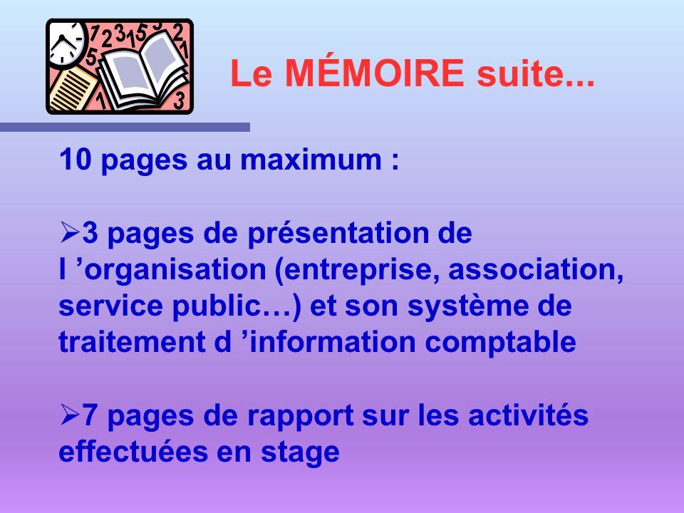 10 pages au maximum : 3 pages de présentation de l organisation (entreprise, association, service public…) et son système de traitement d information