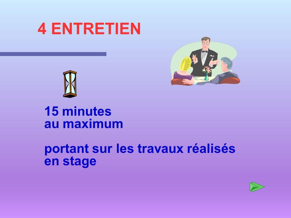 4 ENTRETIEN 15 minutes au maximum portant sur les travaux réalisés en stage