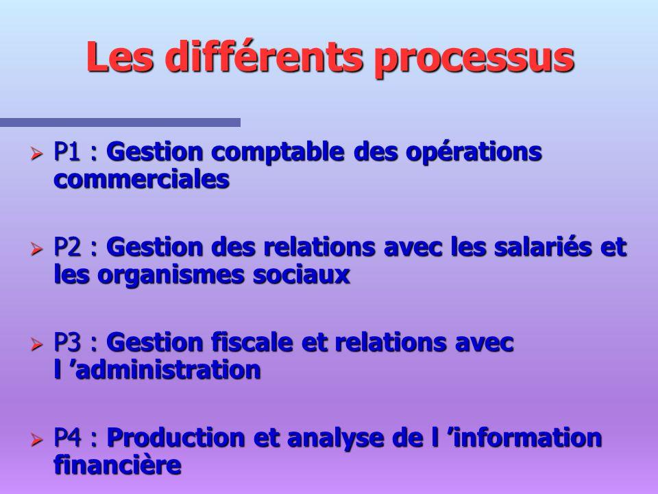 Les différents processus P1 : Gestion comptable des opérations commerciales P1 : Gestion comptable des opérations commerciales P2 : Gestion des relati