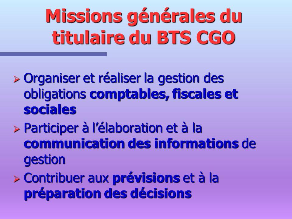 Missions générales du titulaire du BTS CGO Organiser et réaliser la gestion des obligations comptables, fiscales et sociales Organiser et réaliser la