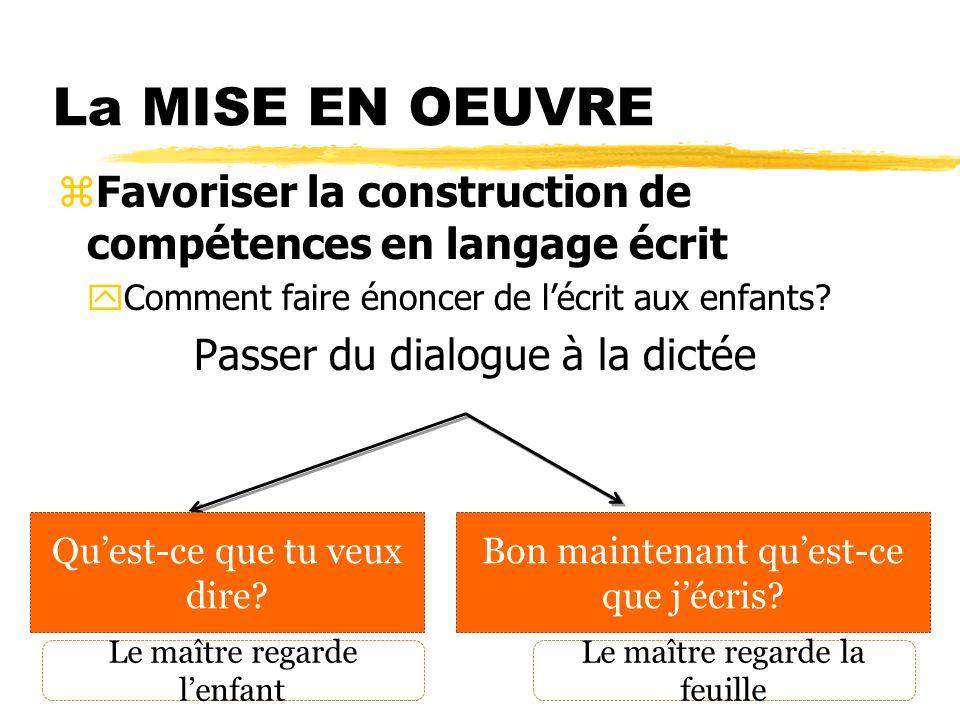 La MISE EN OEUVRE zFavoriser la construction de compétences en langage écrit yComment faire énoncer de lécrit aux enfants? Passer du dialogue à la dic