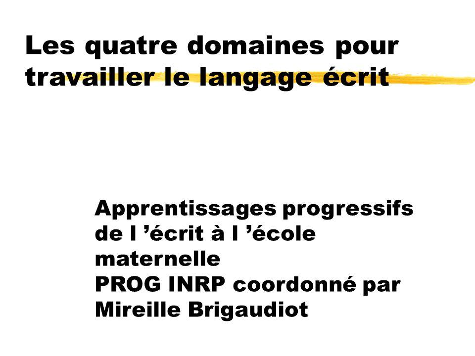 Apprentissages progressifs de l écrit à l école maternelle PROG INRP coordonné par Mireille Brigaudiot Les quatre domaines pour travailler le langage