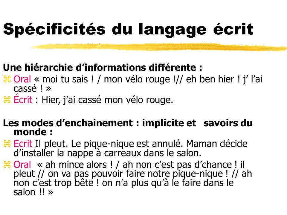 Spécificités du langage écrit Une hiérarchie dinformations différente : zOral « moi tu sais ! / mon vélo rouge !// eh ben hier ! j lai cassé ! » zÉcri