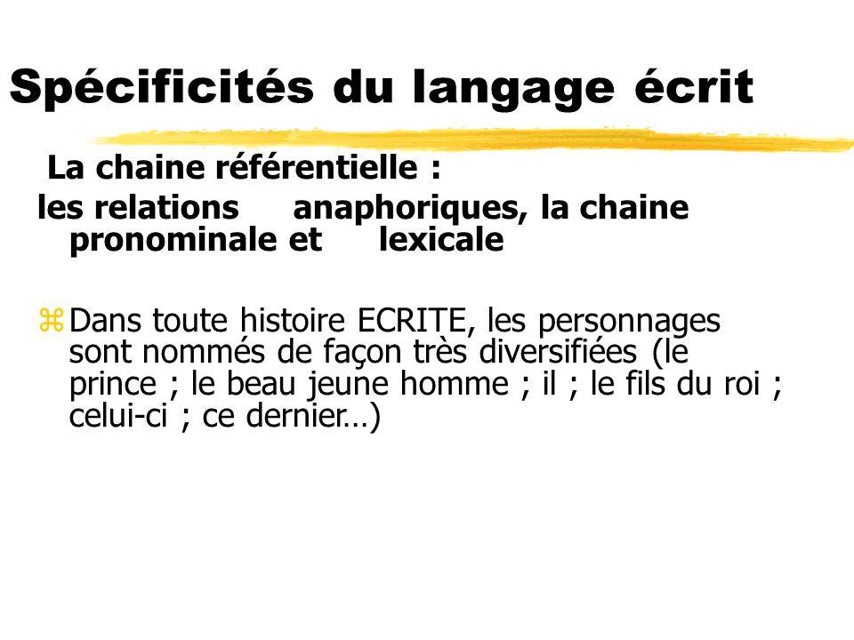 La chaine référentielle : les relations anaphoriques, la chaine pronominale et lexicale zDans toute histoire ECRITE, les personnages sont nommés de fa