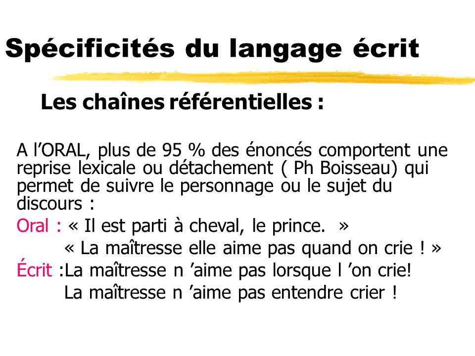 Les chaînes référentielles : A lORAL, plus de 95 % des énoncés comportent une reprise lexicale ou détachement ( Ph Boisseau) qui permet de suivre le p