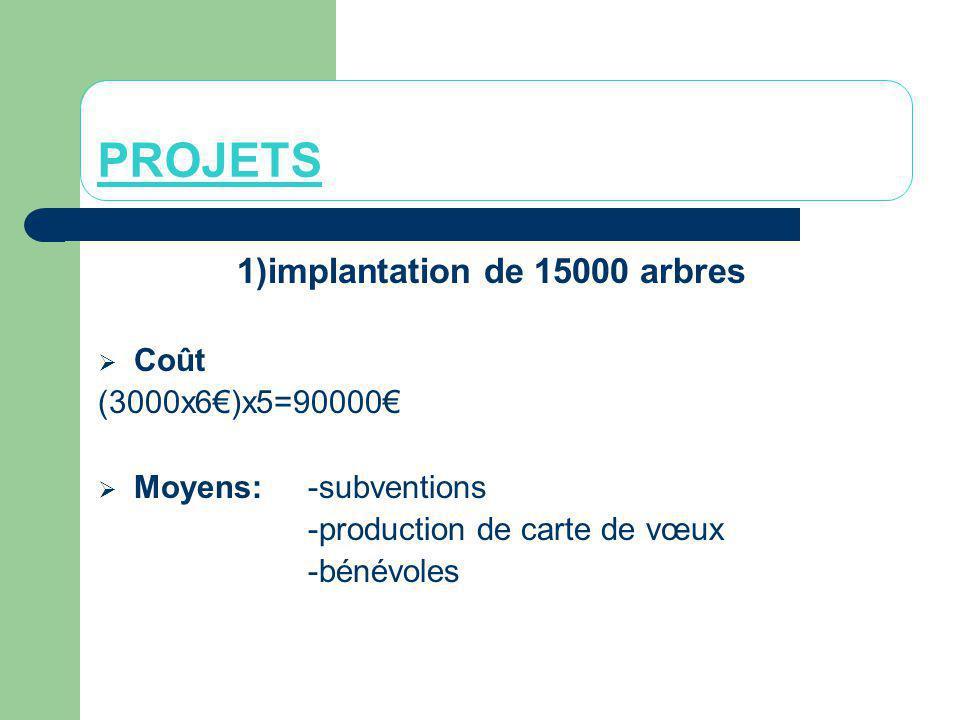 PROJETS 1)implantation de 15000 arbres Coût (3000x6)x5=90000 Moyens: -subventions -production de carte de vœux -bénévoles