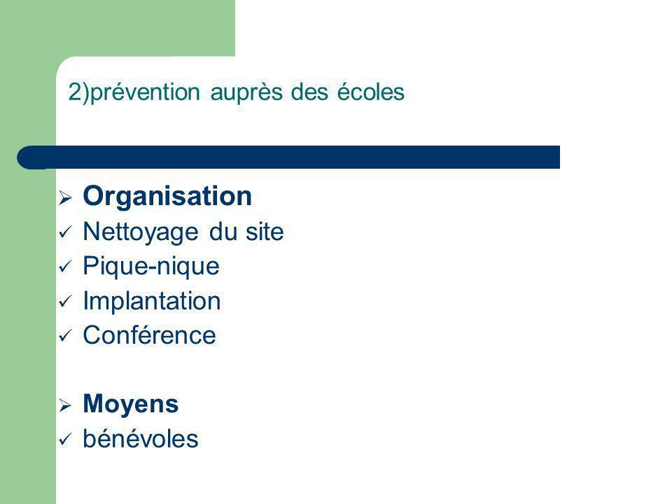2)prévention auprès des écoles Organisation Nettoyage du site Pique-nique Implantation Conférence Moyens bénévoles