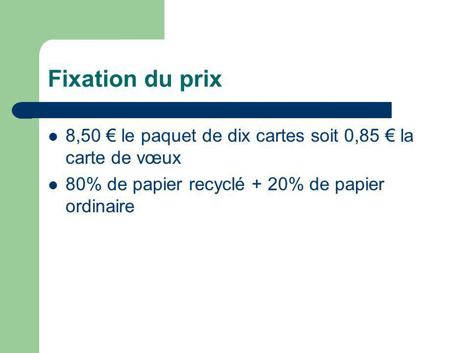 Fixation du prix 8,50 le paquet de dix cartes soit 0,85 la carte de vœux 80% de papier recyclé + 20% de papier ordinaire