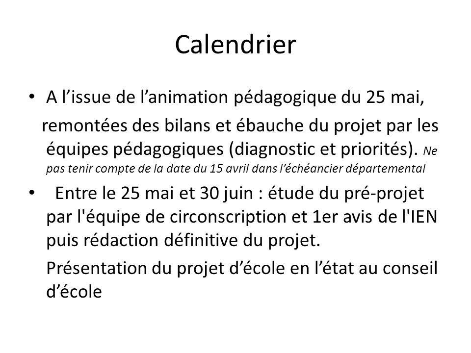 Calendrier A lissue de lanimation pédagogique du 25 mai, remontées des bilans et ébauche du projet par les équipes pédagogiques (diagnostic et priorités).
