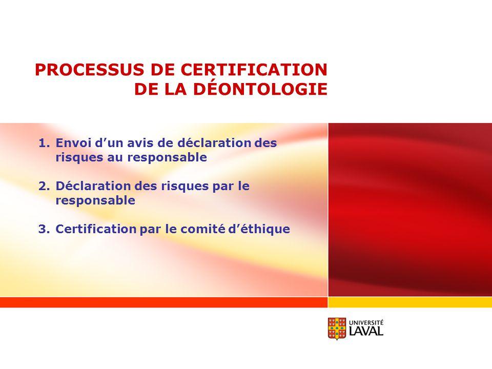 PROCESSUS DE CERTIFICATION DE LA DÉONTOLOGIE 1.Envoi dun avis de déclaration des risques au responsable 2.Déclaration des risques par le responsable 3
