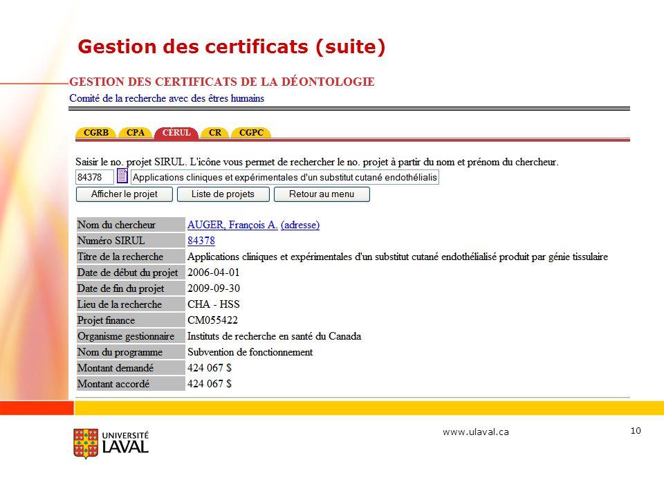 www.ulaval.ca 10 Gestion des certificats (suite)