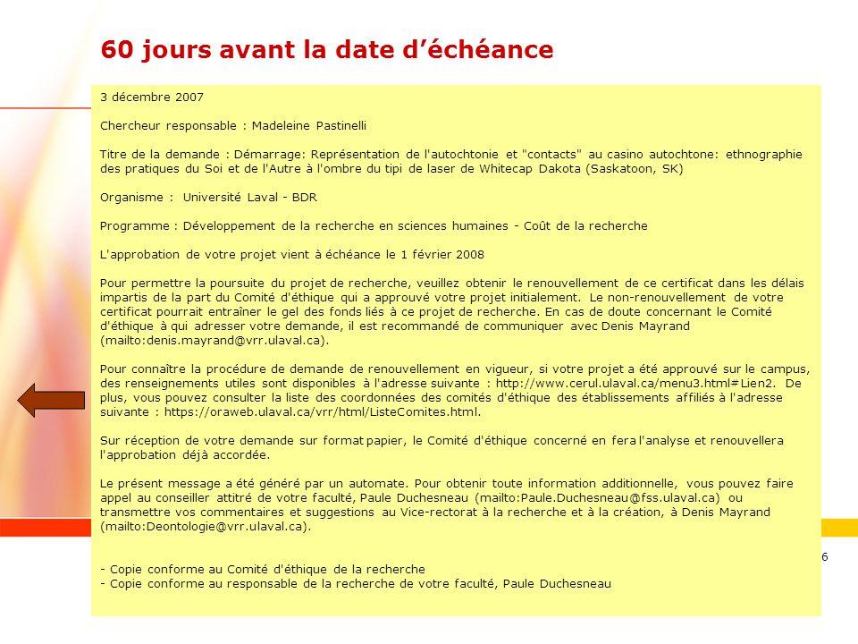 www.ulaval.ca 16 60 jours avant la date déchéance 3 décembre 2007 Chercheur responsable : Madeleine Pastinelli Titre de la demande : Démarrage: Représ