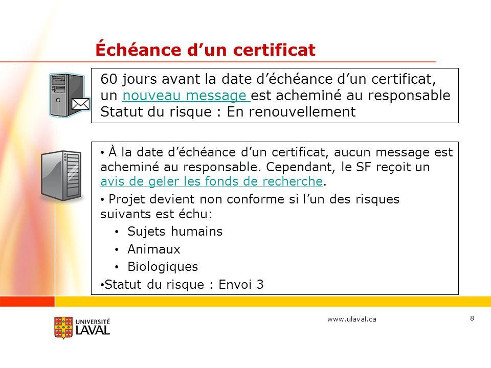 www.ulaval.ca 8 Échéance dun certificat 60 jours avant la date déchéance dun certificat, un nouveau message est acheminé au responsable Statut du risq