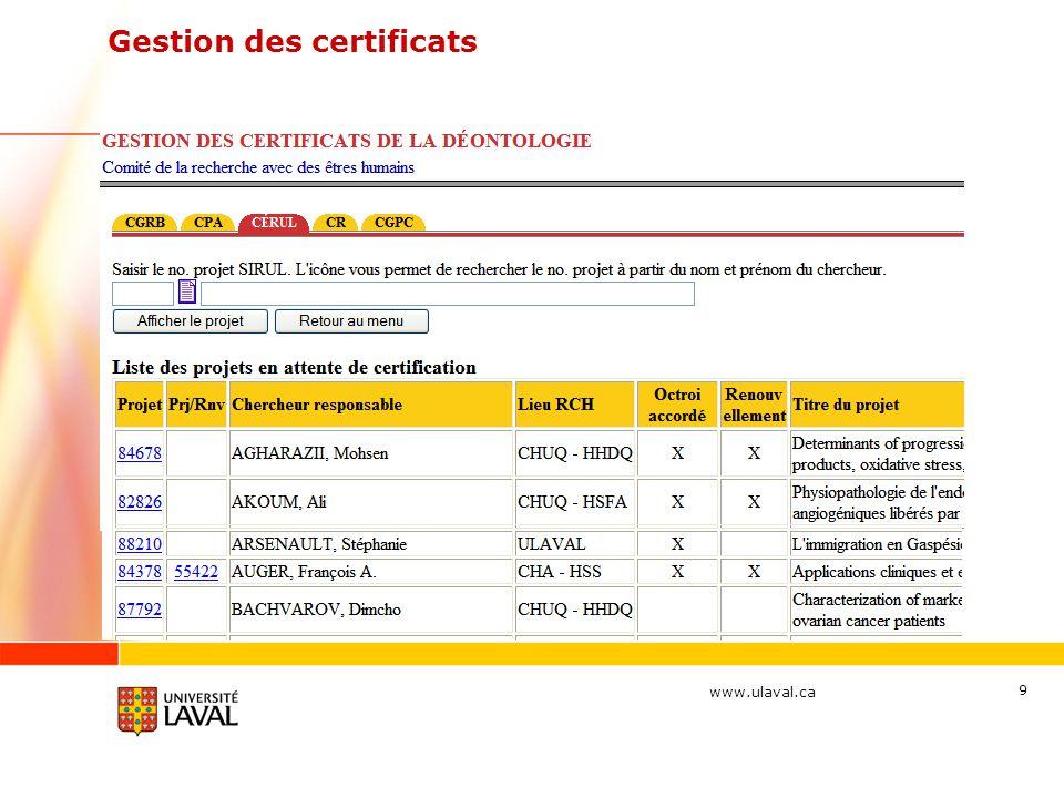 www.ulaval.ca 9 Gestion des certificats