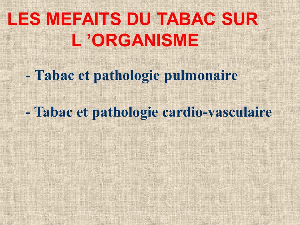 - Tabac et pathologie pulmonaire LES MEFAITS DU TABAC SUR L ORGANISME - Tabac et pathologie cardio-vasculaire