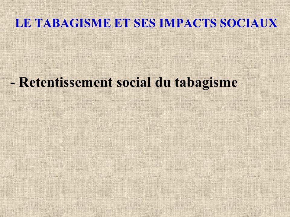 LE TABAGISME ET SES IMPACTS SOCIAUX - Retentissement social du tabagisme