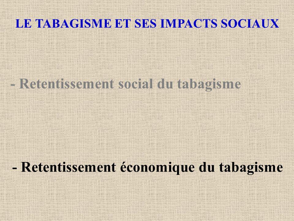 LE TABAGISME ET SES IMPACTS SOCIAUX - Retentissement social du tabagisme - Retentissement économique du tabagisme