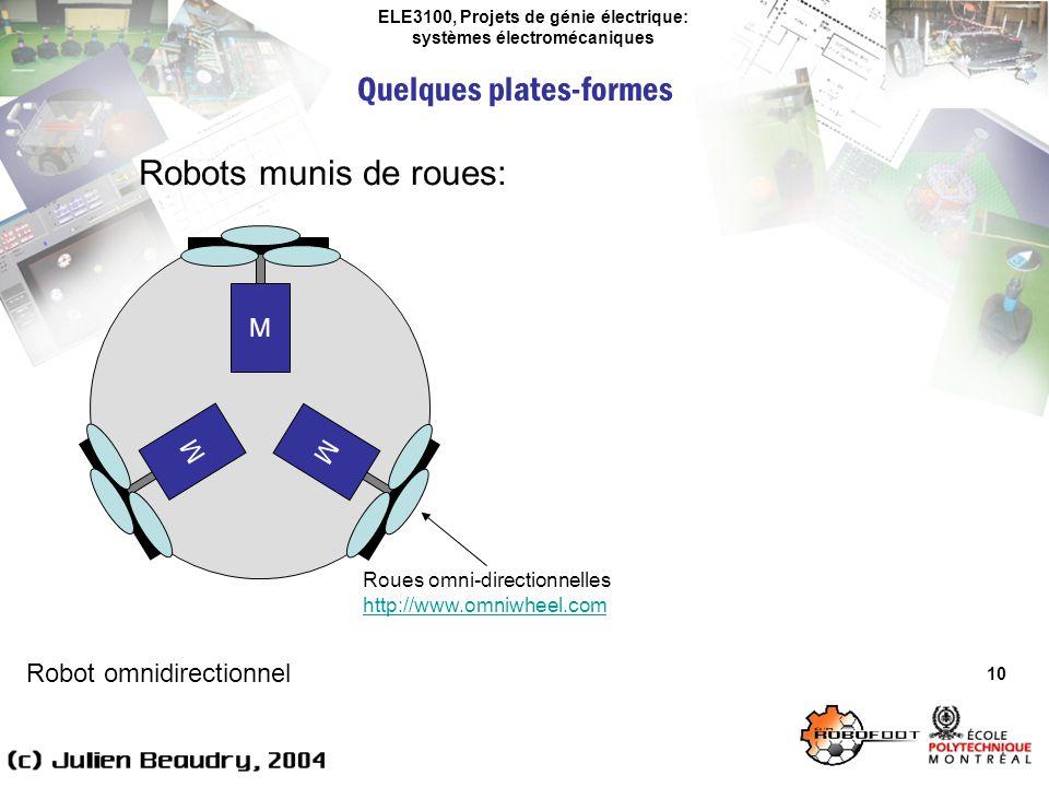 ELE3100, Projets de génie électrique: systèmes électromécaniques Quelques plates-formes 10 Robots munis de roues: Robot omnidirectionnel M M M Roues o