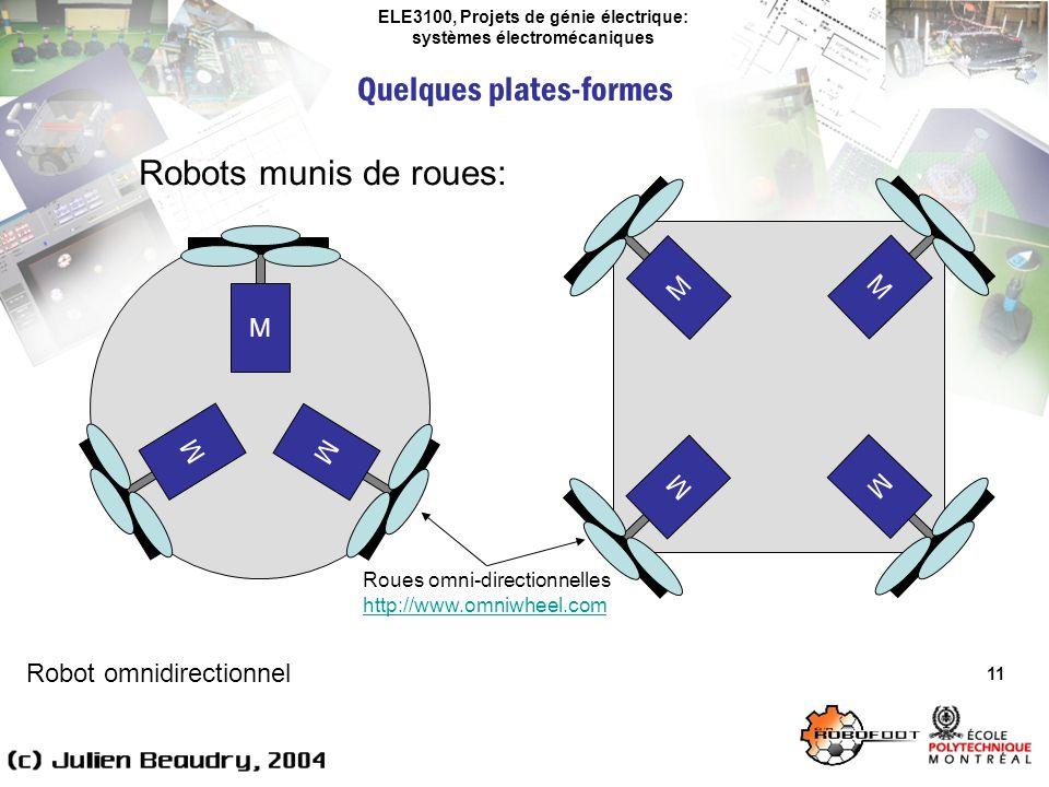 ELE3100, Projets de génie électrique: systèmes électromécaniques Quelques plates-formes 11 Robots munis de roues: Robot omnidirectionnel M M M M M M M