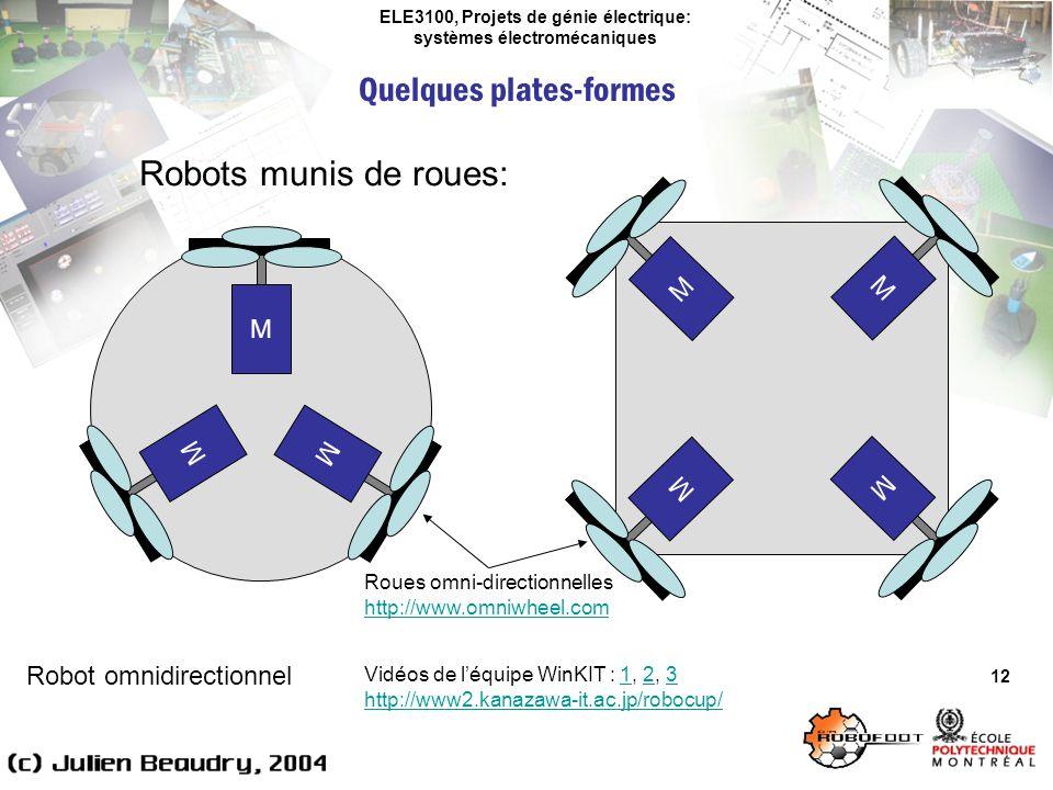 ELE3100, Projets de génie électrique: systèmes électromécaniques Quelques plates-formes 12 Robots munis de roues: Robot omnidirectionnel M M M M M M M