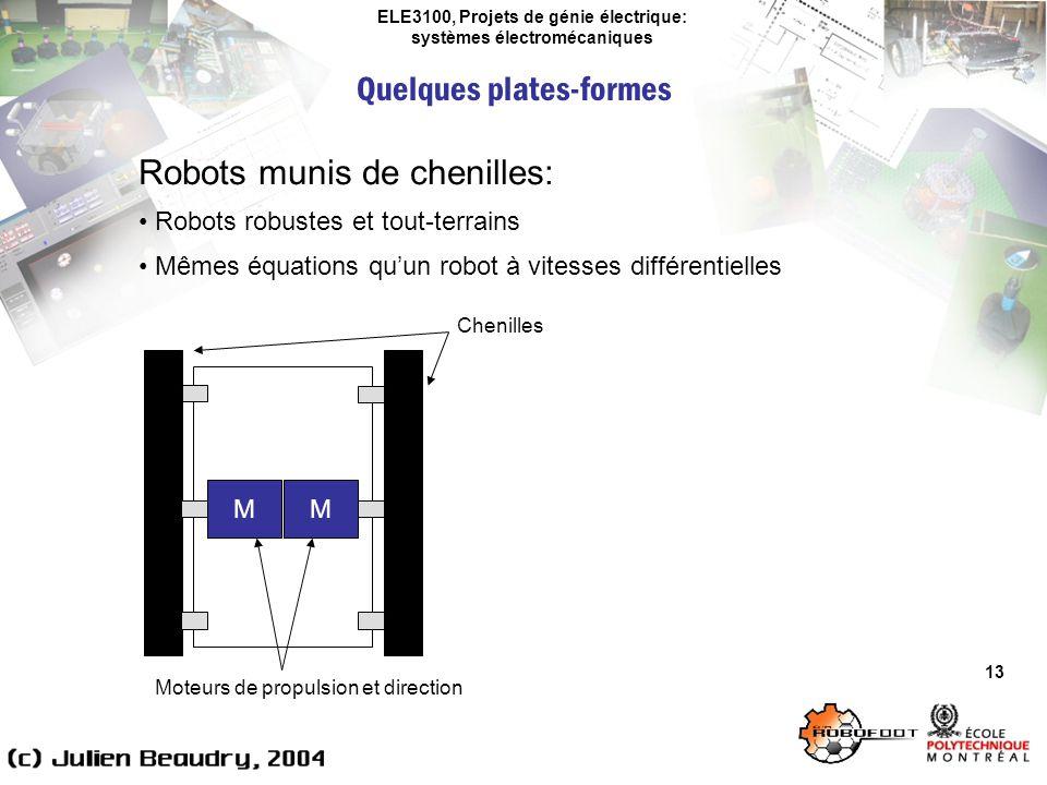 ELE3100, Projets de génie électrique: systèmes électromécaniques Quelques plates-formes 13 Robots munis de chenilles: Robots robustes et tout-terrains