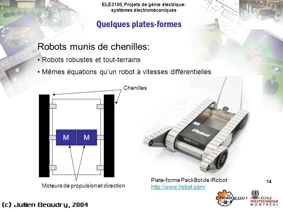 ELE3100, Projets de génie électrique: systèmes électromécaniques Quelques plates-formes 14 Robots munis de chenilles: Robots robustes et tout-terrains