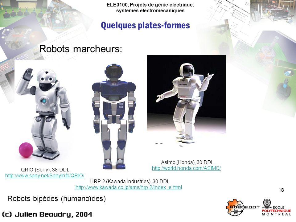 ELE3100, Projets de génie électrique: systèmes électromécaniques Quelques plates-formes 18 Robots marcheurs: Robots bipèdes (humanoïdes) QRIO (Sony),