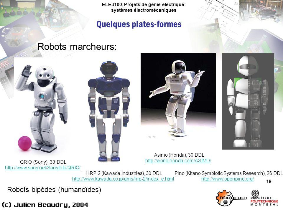ELE3100, Projets de génie électrique: systèmes électromécaniques Quelques plates-formes 19 Robots marcheurs: Robots bipèdes (humanoïdes) QRIO (Sony),