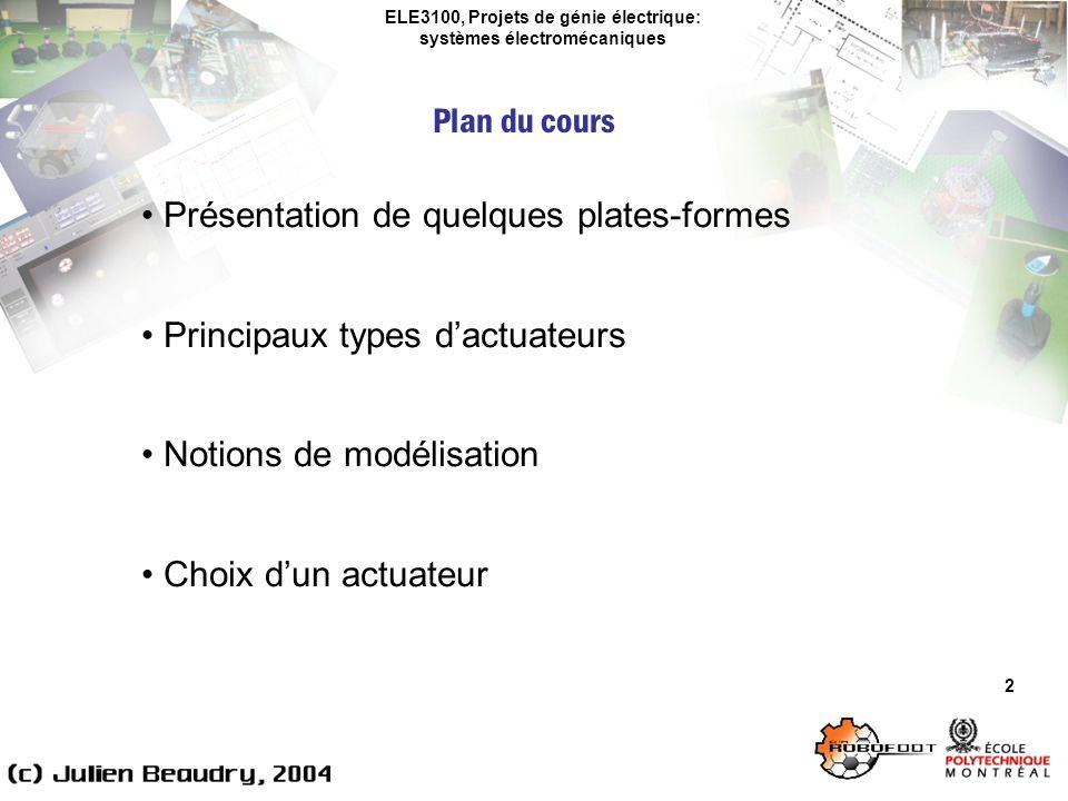 ELE3100, Projets de génie électrique: systèmes électromécaniques Plan du cours 2 Présentation de quelques plates-formes Principaux types dactuateurs N