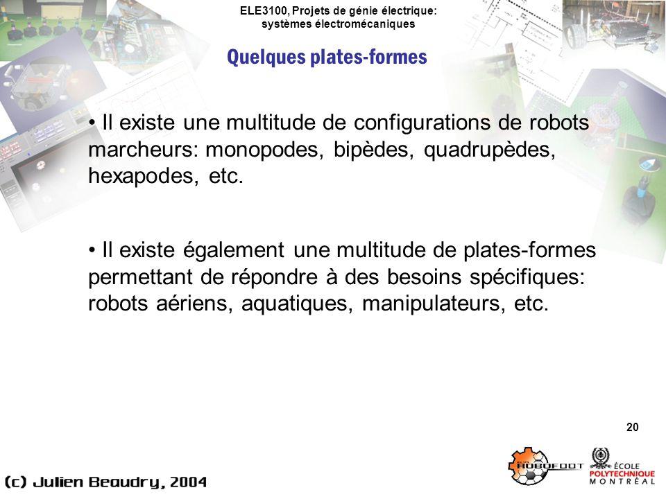 ELE3100, Projets de génie électrique: systèmes électromécaniques Quelques plates-formes 20 Il existe une multitude de configurations de robots marcheu