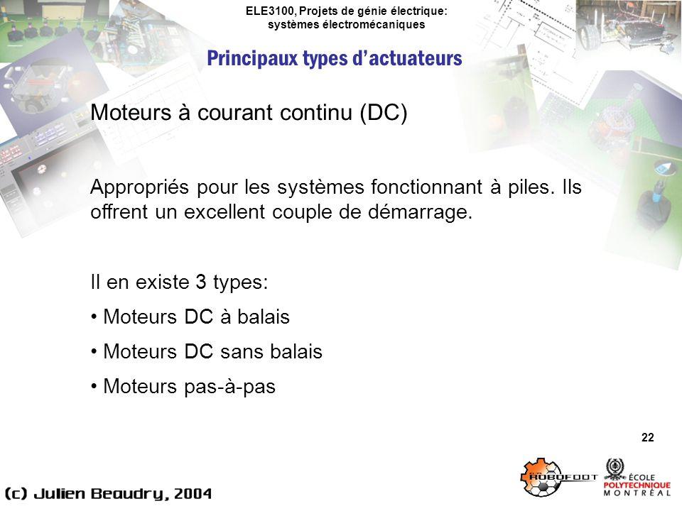 ELE3100, Projets de génie électrique: systèmes électromécaniques Principaux types dactuateurs 22 Moteurs à courant continu (DC) Appropriés pour les sy