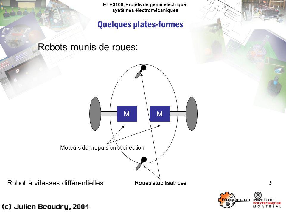 ELE3100, Projets de génie électrique: systèmes électromécaniques Quelques plates-formes 3 Robots munis de roues: M M Robot à vitesses différentielles