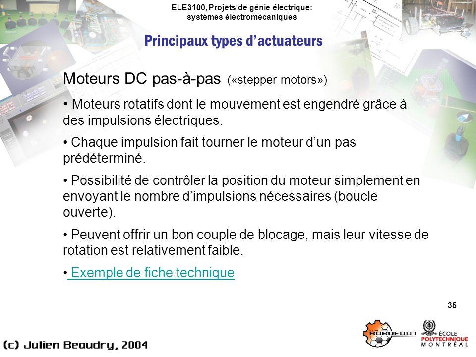 ELE3100, Projets de génie électrique: systèmes électromécaniques Principaux types dactuateurs 35 Moteurs DC pas-à-pas («stepper motors») Moteurs rotat