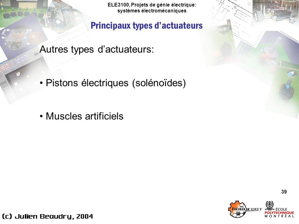 ELE3100, Projets de génie électrique: systèmes électromécaniques Principaux types dactuateurs 39 Autres types dactuateurs: Pistons électriques (soléno