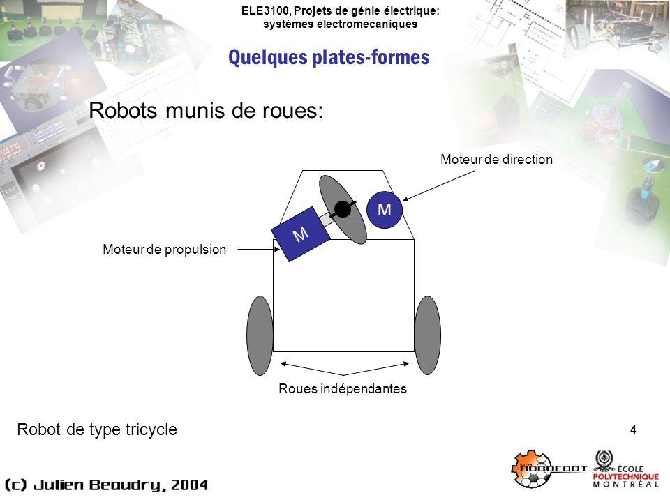 ELE3100, Projets de génie électrique: systèmes électromécaniques Quelques plates-formes 4 Robots munis de roues: M Robot de type tricycle M Moteur de