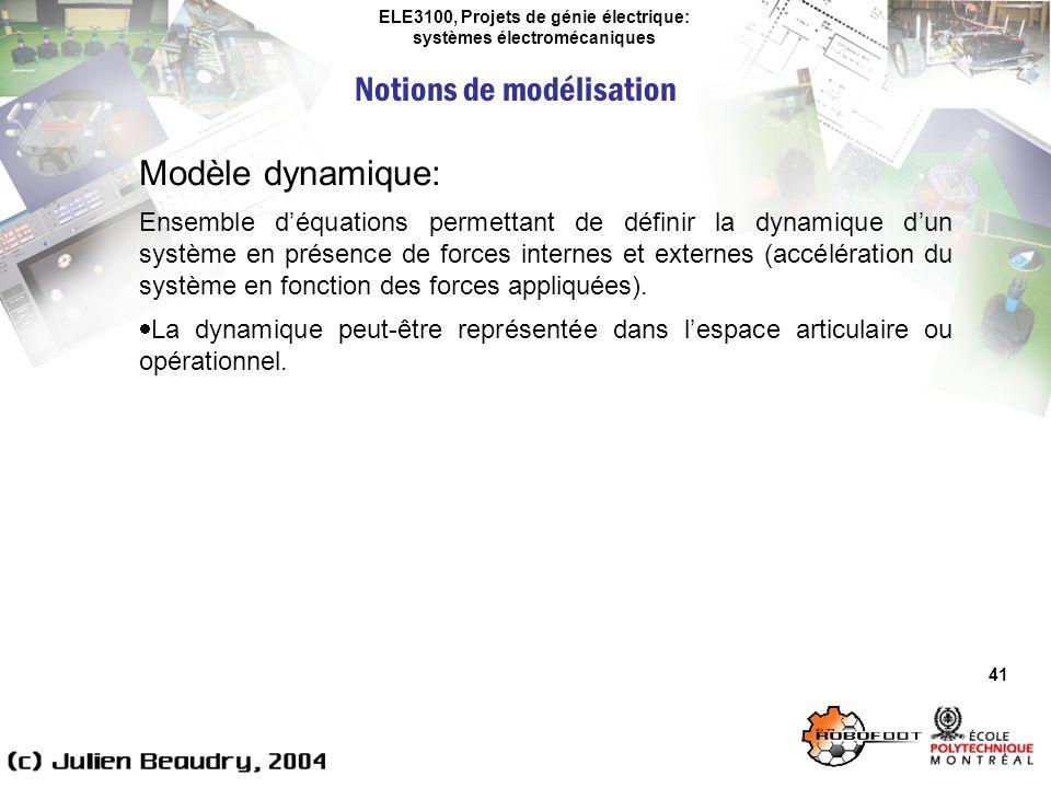 ELE3100, Projets de génie électrique: systèmes électromécaniques Notions de modélisation 41 Modèle dynamique: Ensemble déquations permettant de défini