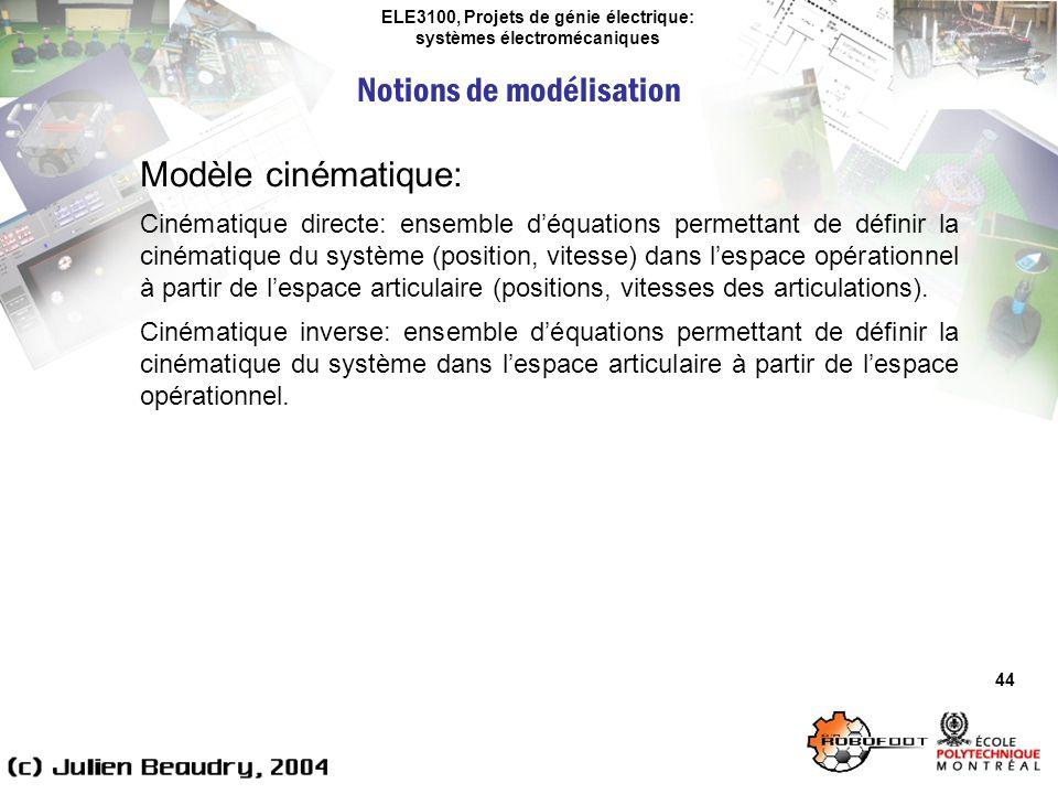 ELE3100, Projets de génie électrique: systèmes électromécaniques Notions de modélisation 44 Modèle cinématique: Cinématique directe: ensemble déquatio