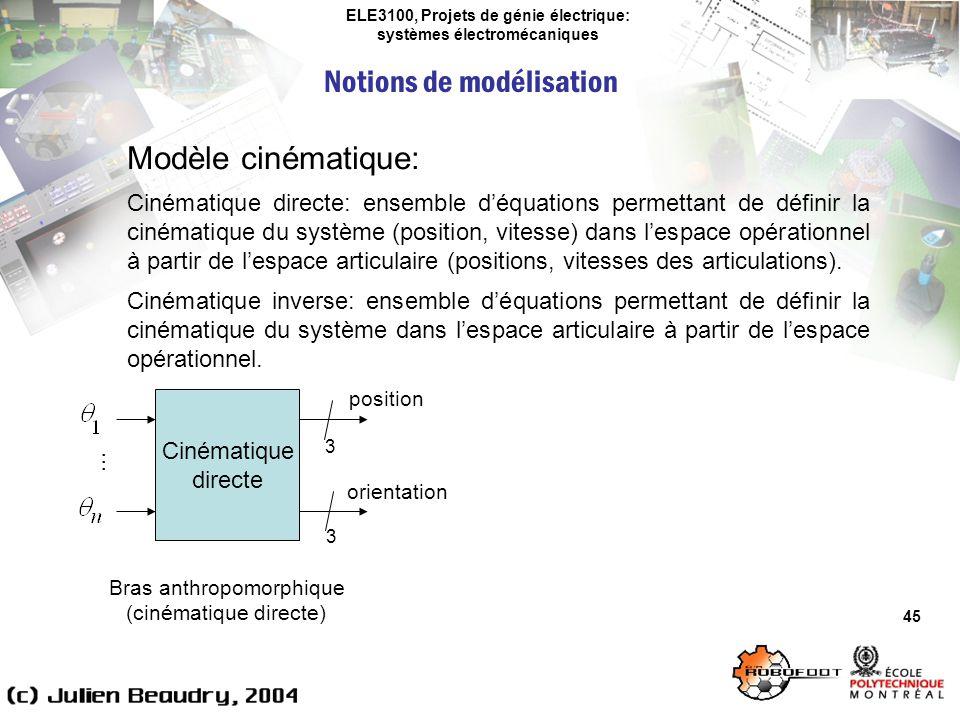 ELE3100, Projets de génie électrique: systèmes électromécaniques Notions de modélisation 45 Modèle cinématique: Cinématique directe: ensemble déquatio