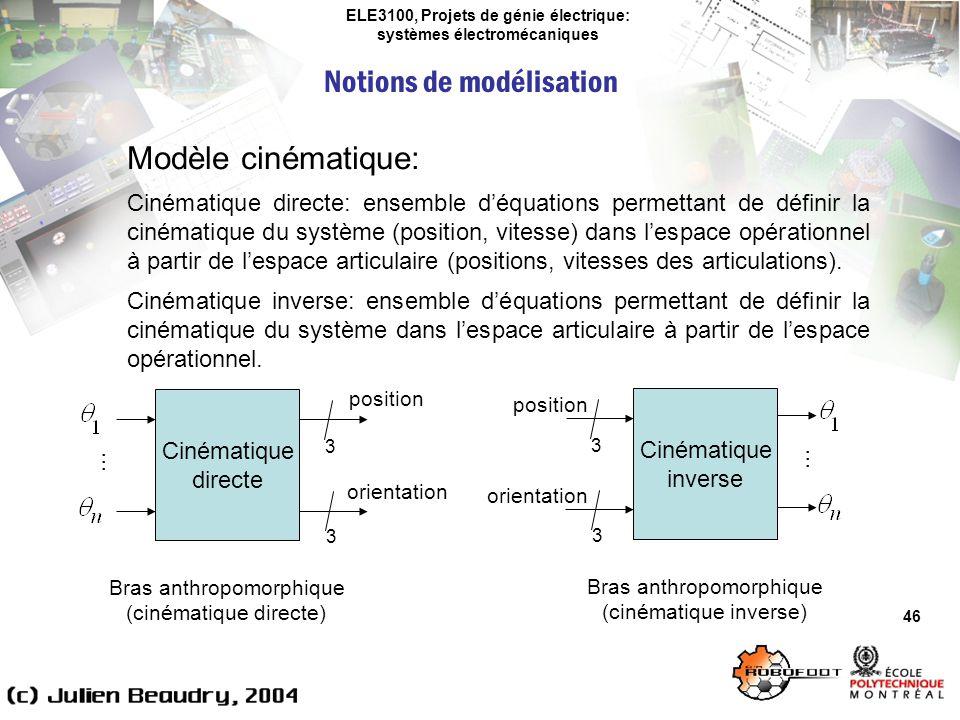 ELE3100, Projets de génie électrique: systèmes électromécaniques Notions de modélisation 46 Modèle cinématique: Cinématique directe: ensemble déquatio
