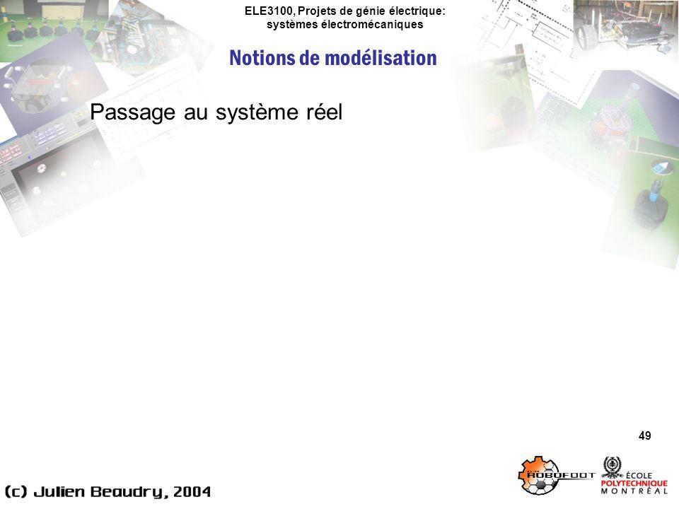 ELE3100, Projets de génie électrique: systèmes électromécaniques Notions de modélisation 49 Passage au système réel