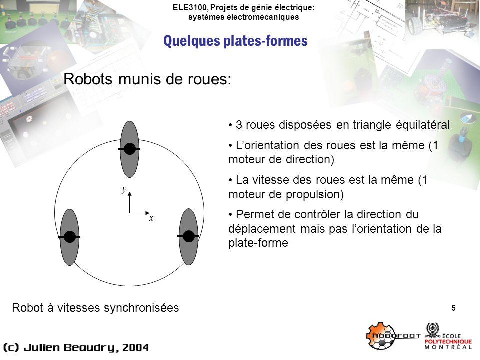 ELE3100, Projets de génie électrique: systèmes électromécaniques Quelques plates-formes 5 Robots munis de roues: Robot à vitesses synchronisées 3 roue