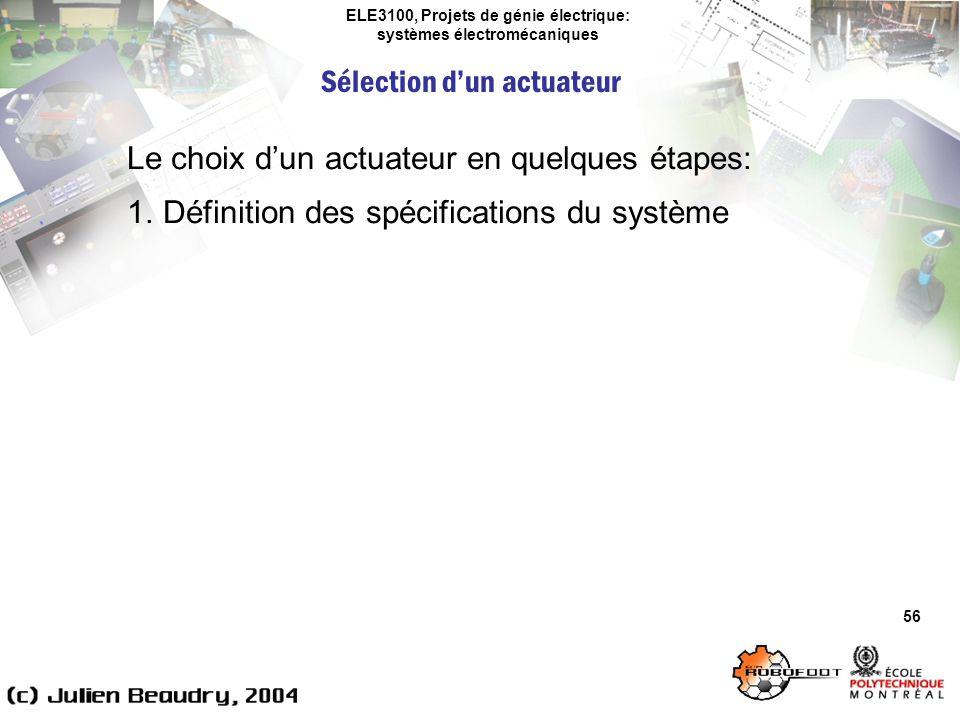ELE3100, Projets de génie électrique: systèmes électromécaniques Sélection dun actuateur 56 Le choix dun actuateur en quelques étapes: 1.Définition de
