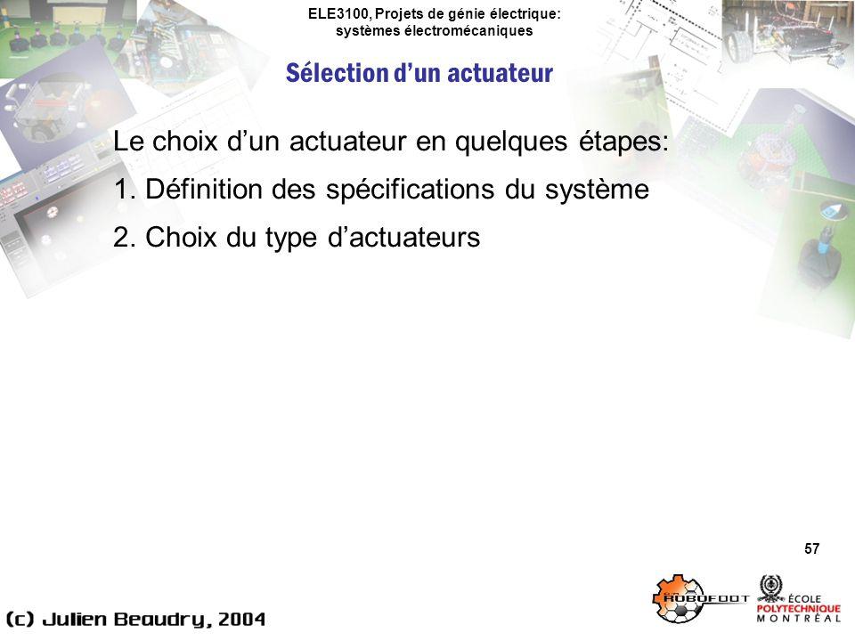 ELE3100, Projets de génie électrique: systèmes électromécaniques Sélection dun actuateur 57 Le choix dun actuateur en quelques étapes: 1.Définition de
