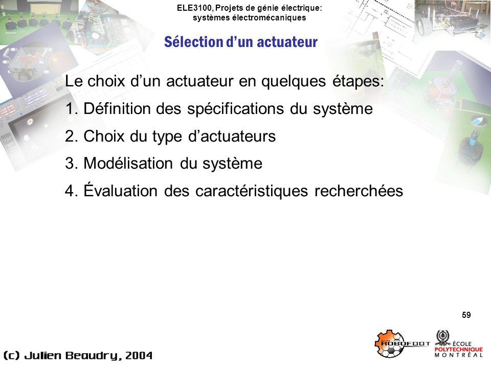 ELE3100, Projets de génie électrique: systèmes électromécaniques Sélection dun actuateur 59 Le choix dun actuateur en quelques étapes: 1.Définition de