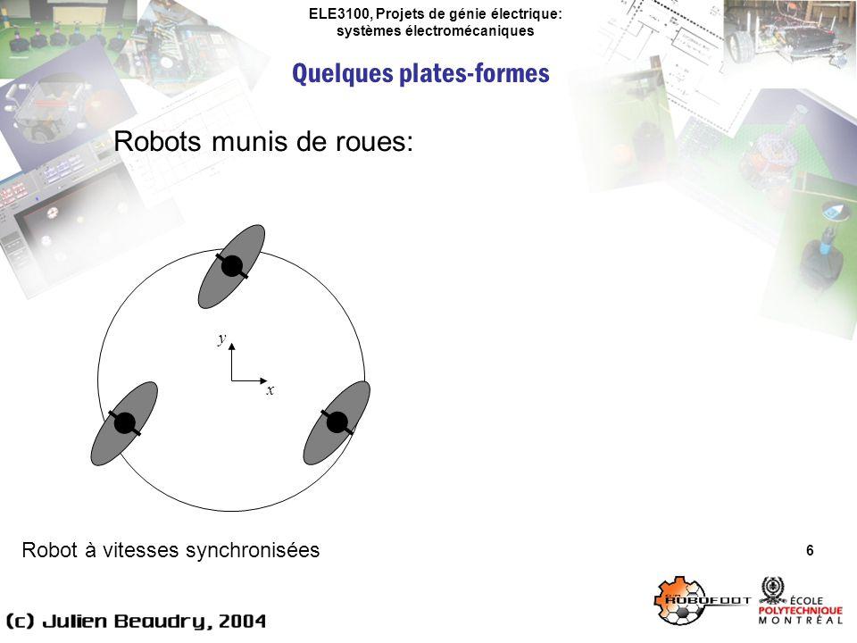 ELE3100, Projets de génie électrique: systèmes électromécaniques Quelques plates-formes 6 Robots munis de roues: Robot à vitesses synchronisées x y